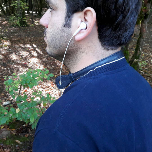 Goat Leather Navy Blue Headphone Holder