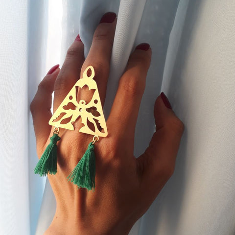 Triangle Brass Ring with Green Tassels