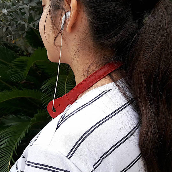 Goat Leather Red Headphone Holder