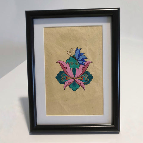 Eastern Flower from Persian Carpet on Handmade Paper