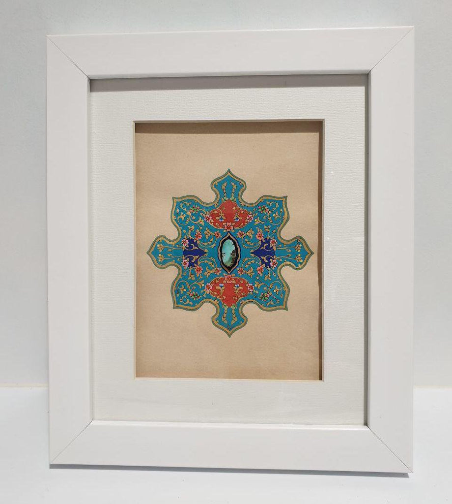 Khataei & Eslimi (Islimi) with a Turquoise at Heart Framed Painting - Limited Edition