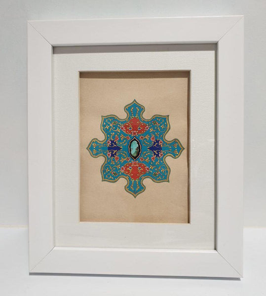 Khataei & Islimi with a Turquoise at Heart Framed Painting - Limited Edition