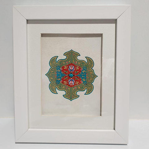 Khataei &  Islimi with a Turquoise at Heart and Green Olive Accent Framed Painting - Limited Edition