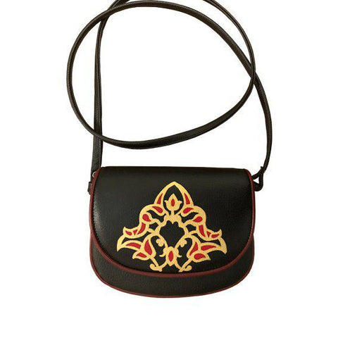 Handpainted Eslimi Pattern Black Bag