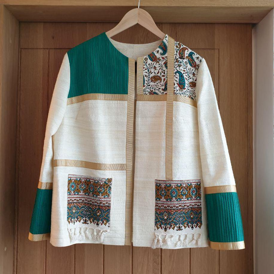 Creme Ghalamkar Jacket with Green Accent