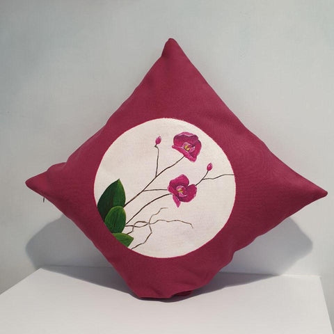 Orchids in Magenta Cushion