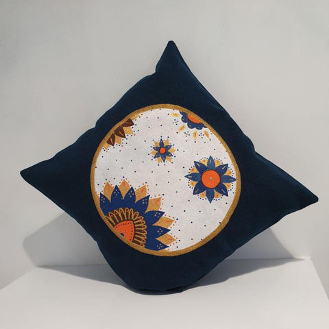 Iranian Lotus in Dark Blue Cushion