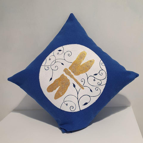 Golden Dragonfly among Eslimi Motif in Lazuli Blue Cushion