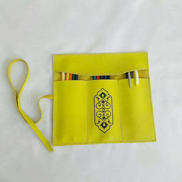 Greenish Yellow Handmade Leather Pouch