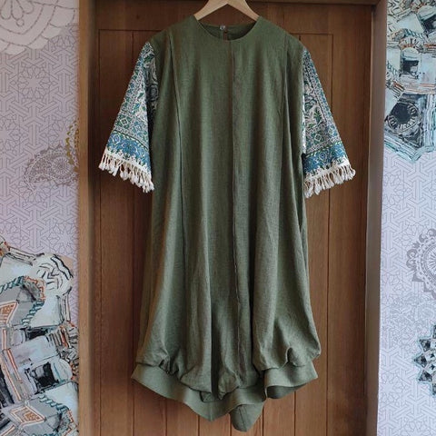Green Ghalamkar Dress