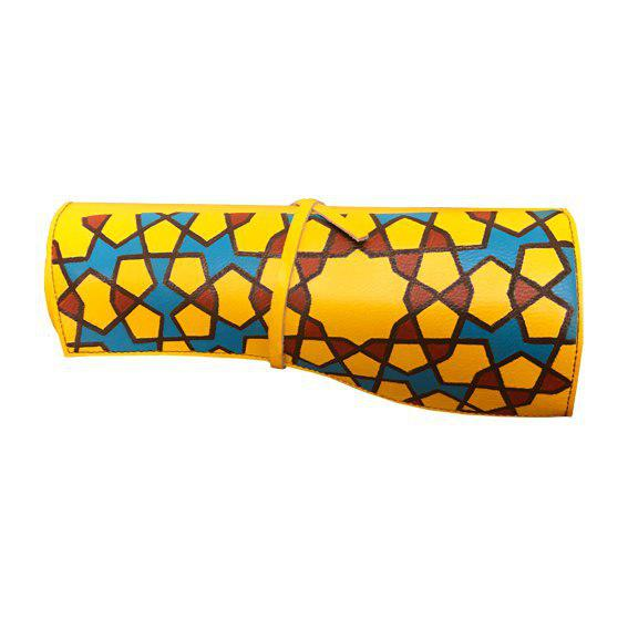 Yellow Leather Pencil/ Brush Case