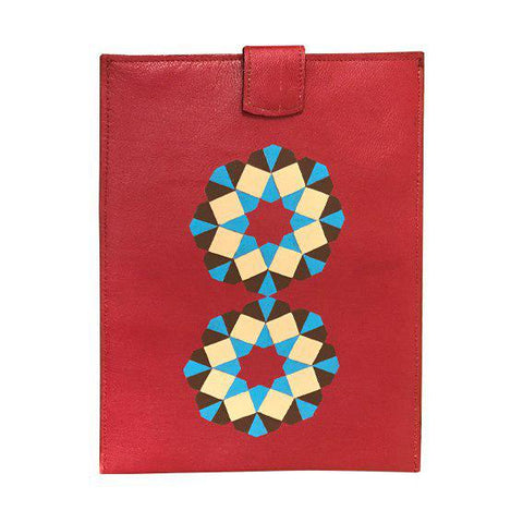 Red Tablet Bag With Hand Painted Geometry Art