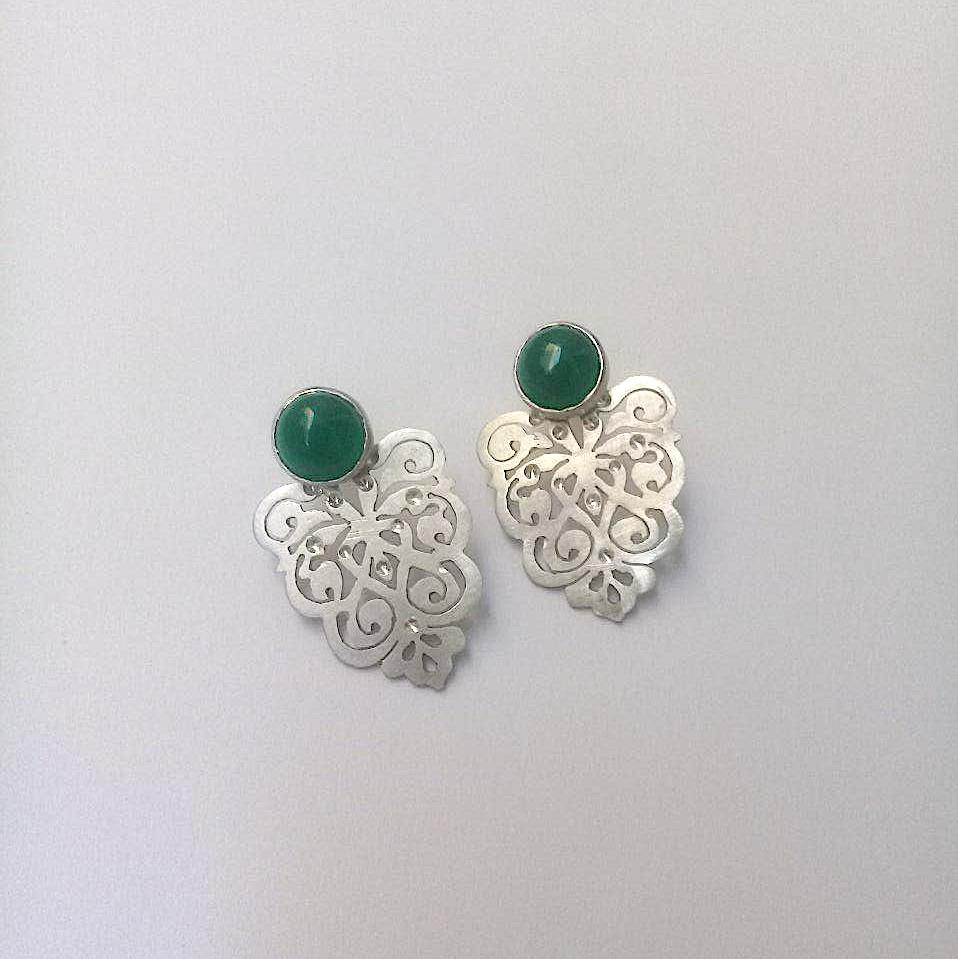 Bastam Silver Earrings with Green Agate