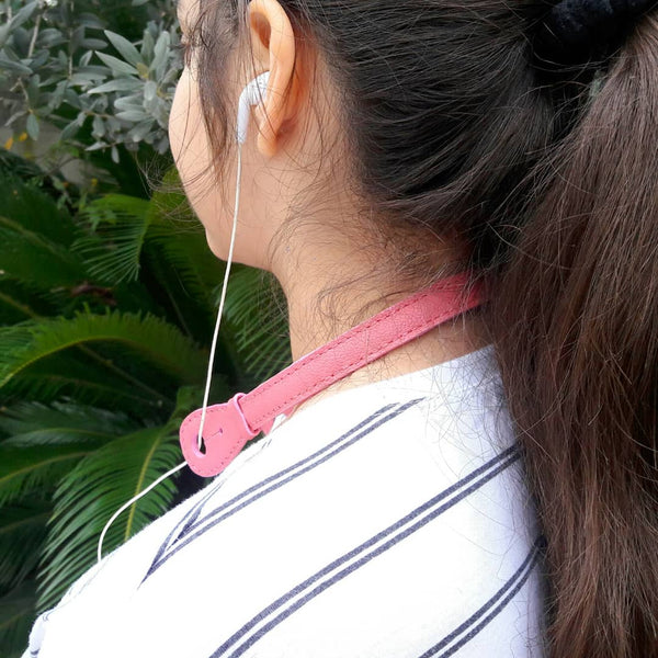 Goat Leather Pink Headphone Holder