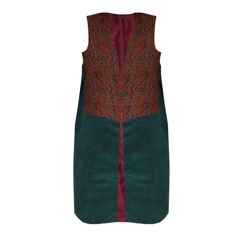 Termeh & Peacock Green Sleeveless Coat