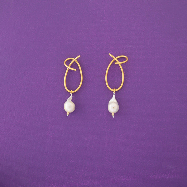 Ate One Pearl Statement Earrings in Gold - emme