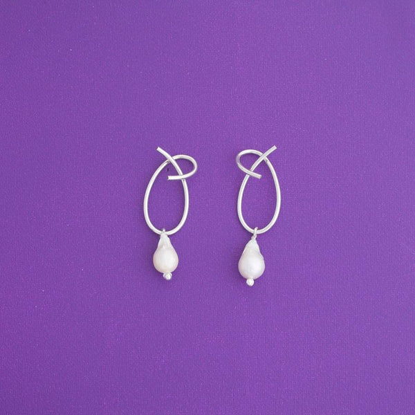 Ate One Pearl Statement Earrings in Silver - emme