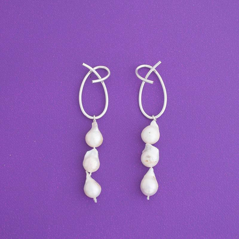 Ate Three Pearl Statement Earrings in Silver - emme
