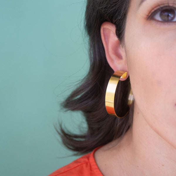 Bold Statement Gold Hoop Earrings - emme