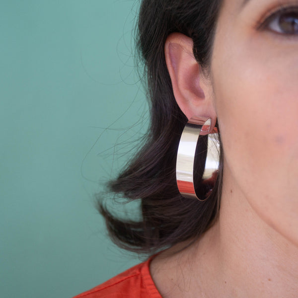 Bold Statement Silver Hoop Earrings - emme