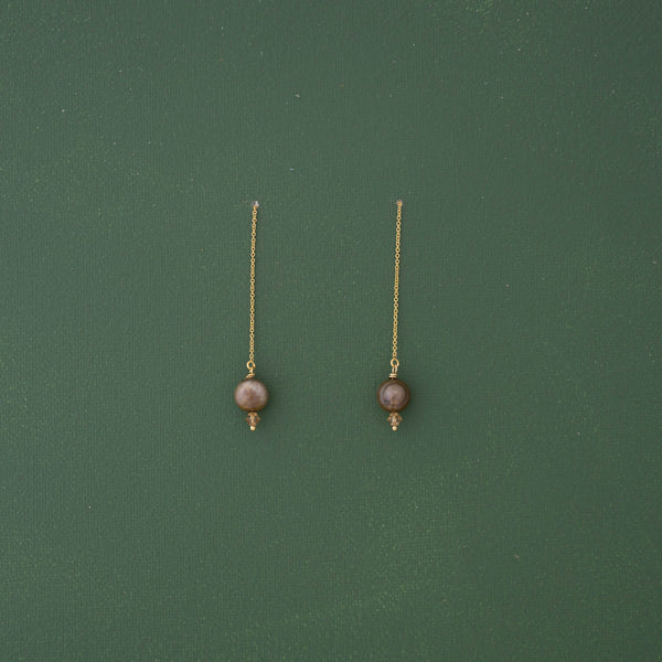 Chocolate Pearl Threader Gold Earrings - emme