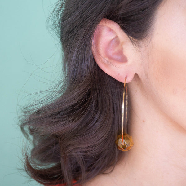 Glass Hoop Gold Earrings - emme