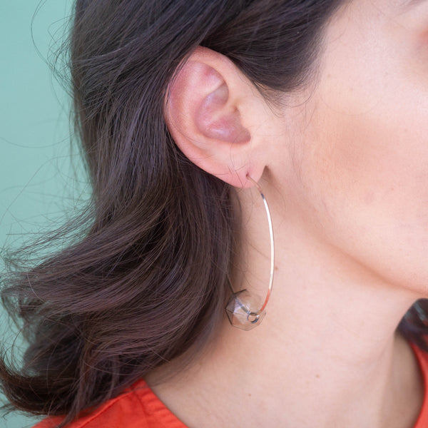 Glass Hoop Silver Earrings - emme