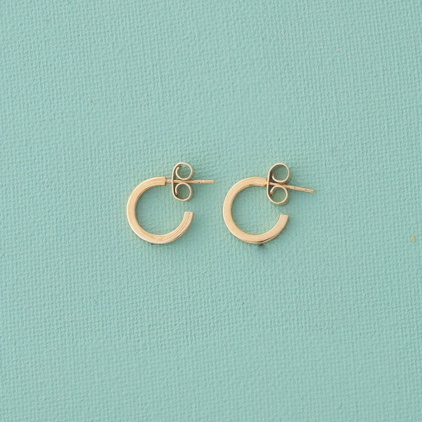 Mini Hoop Earrings & Paperclip Chain Set in Gold - emme
