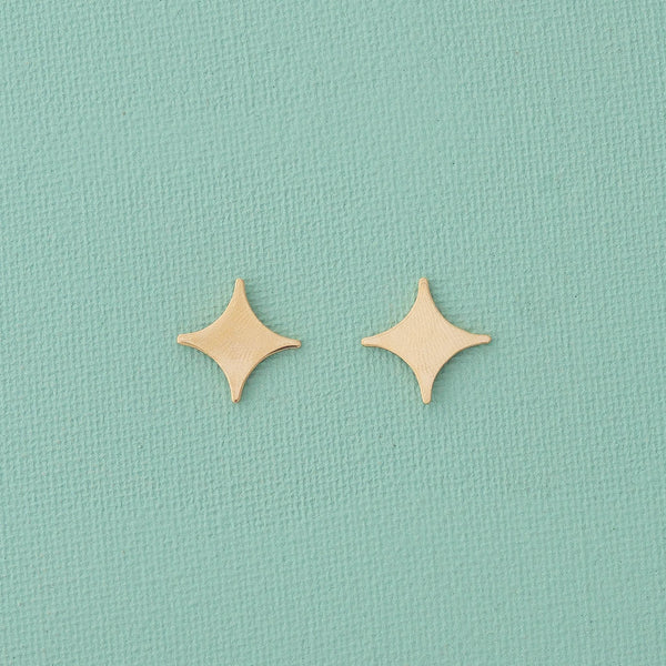 Mini Star Earrings & Paperclip Chain Set in Gold - emme