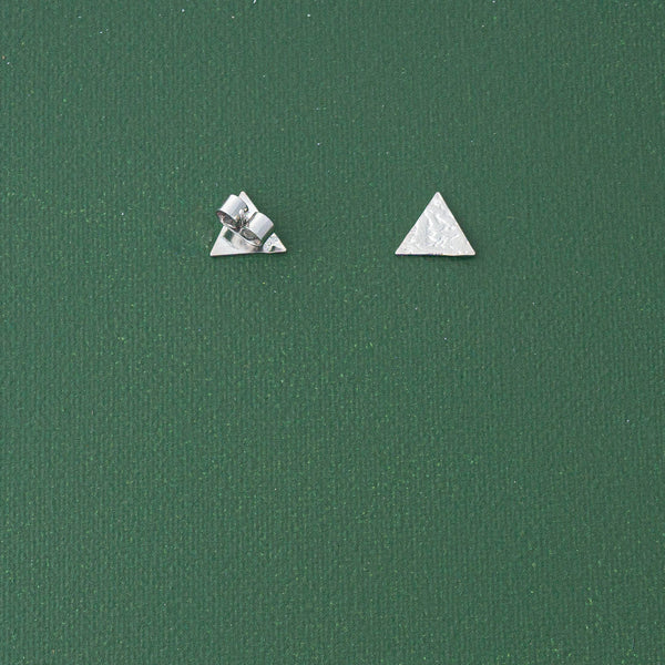 Mini Triangle Stud Earrings in Silver - emme