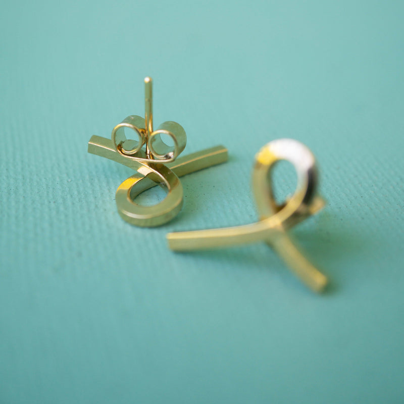 Mini Twist Post Earrings in Gold - emme