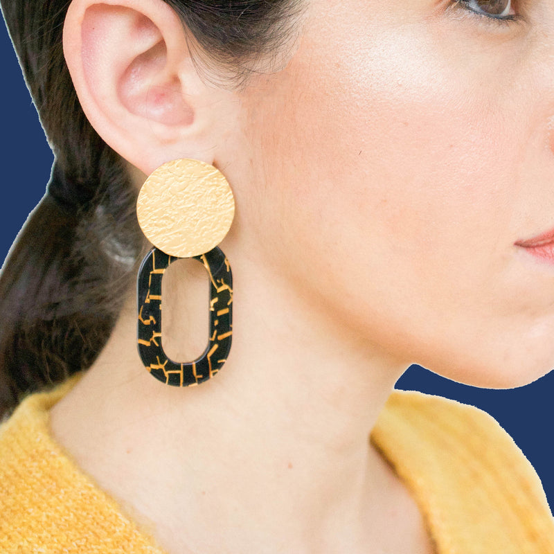 Olga Black Statement Earrings in Gold - emme
