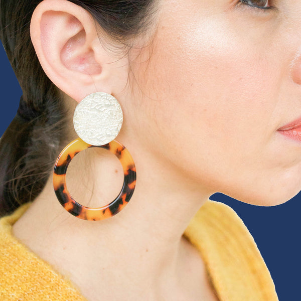 Olga Tortoise Statement Earrings in Gold - emme