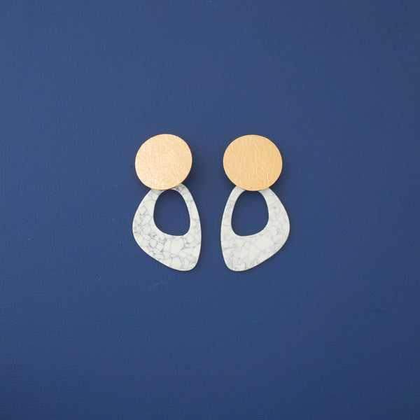 Olga White Statement Earrings in Gold - emme