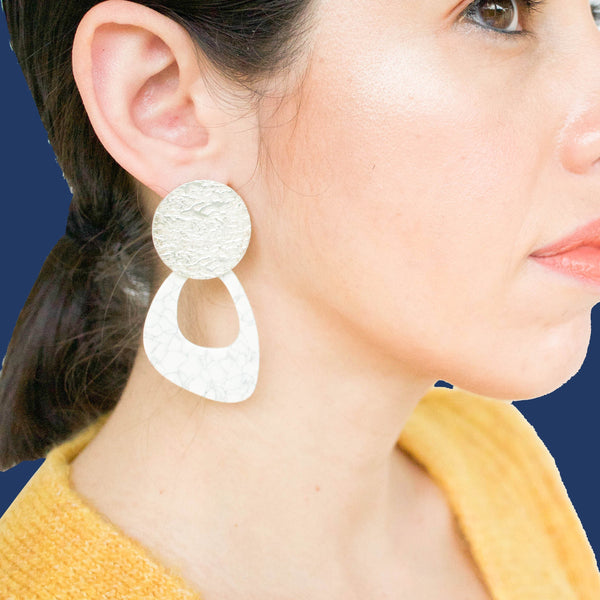 Olga White Statement Earrings in Silver - emme