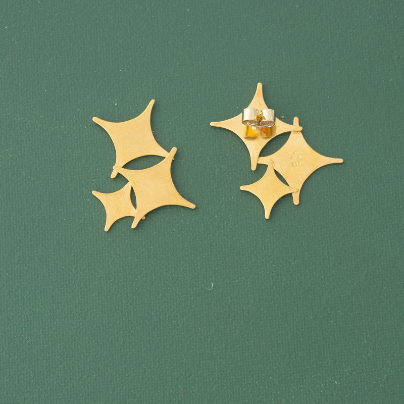 Stars Statement Gold Earrings - emme