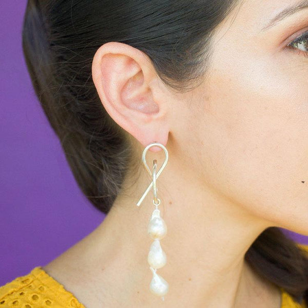 Teresa Three Pearls Statement Earrings in Silver - emme