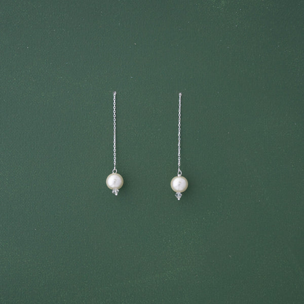 White Pearl Threader Earrings - emme