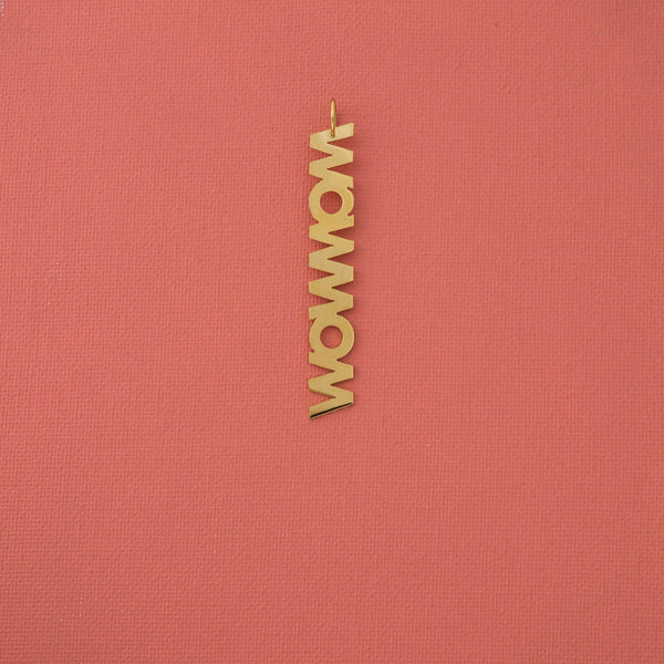 Wow Mom Letter Pendant in Gold - emme