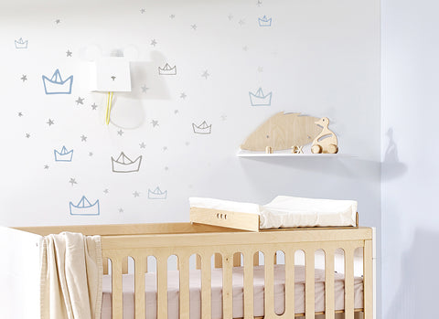 Silver Boat & Stars Wall Sticker