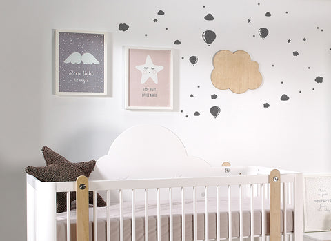 Dark Grey Clouds & Baloons Wall Sticker