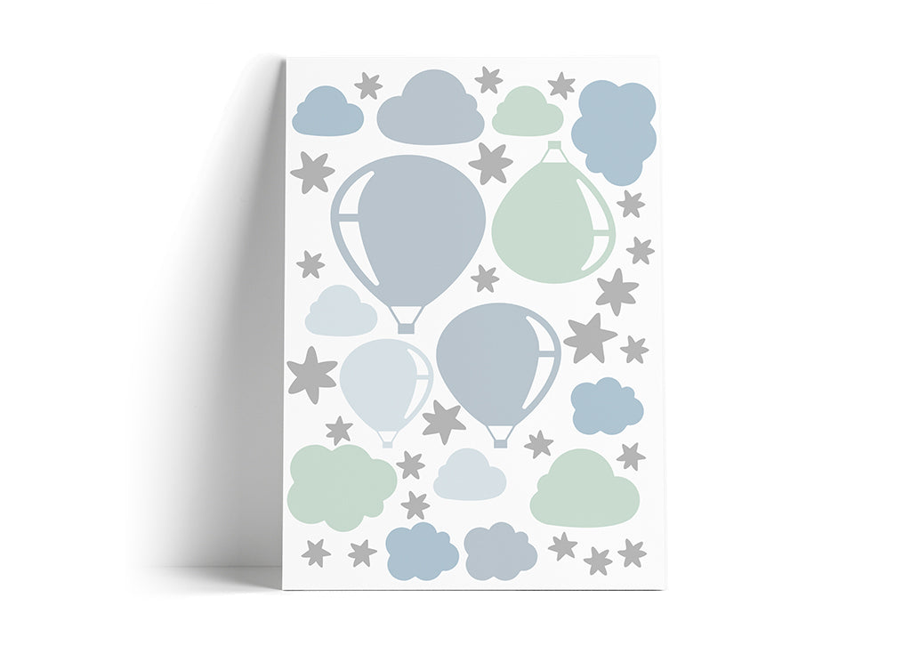 Silver Clouds & Baloons Wall Sticker
