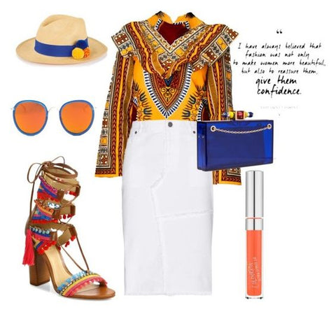 Yellow dashiki Victoria Top from A Leap of Style styled for brunch or outfit for date night with white midi pencil skirt, straw fedora, blue lucite clutch, and pom pom sandals