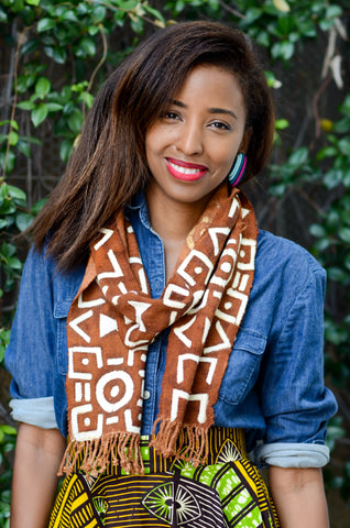 Mud cloth scarf paired with african print midi skirt from A Leap of Style