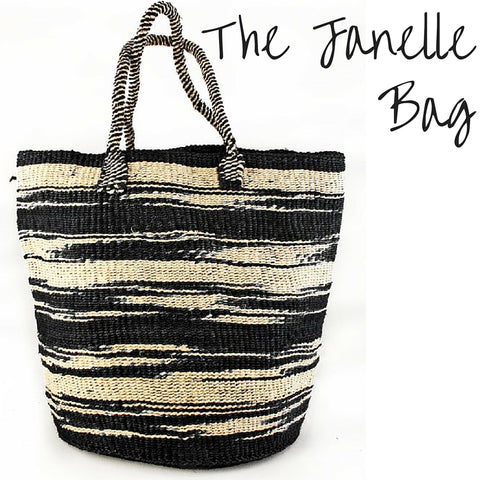 Black and white sisal bag handwoven by Kenyan artisans sold by A Leap of Style The Janelle Tote Bag is a sisal tote bag