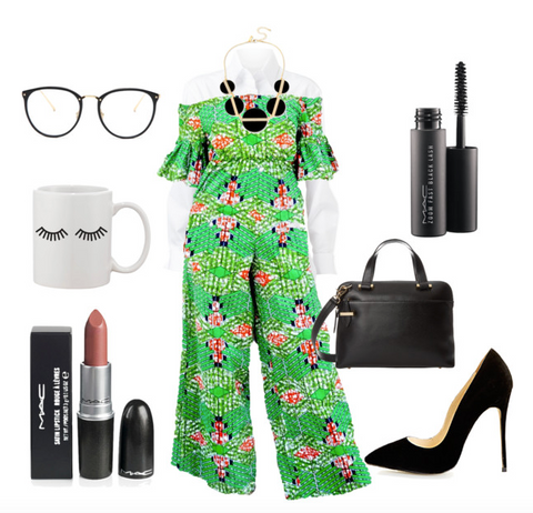 African print jumpsuit styled with white button up layered, pumps, briefcase, and glasses.