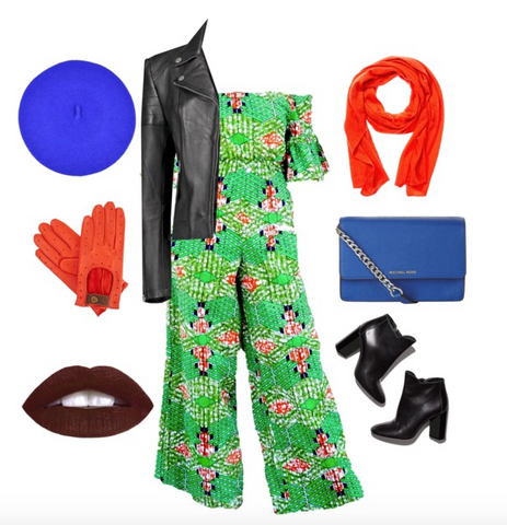 Off the shoulder african print jumpsuit with leather jacket and booties
