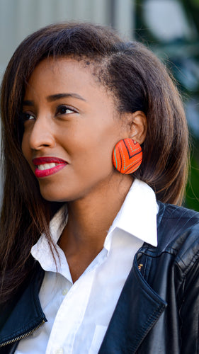 African Print Button Earrings in Orange You Glad