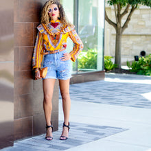 Victoria Top in Yellow Dashiki