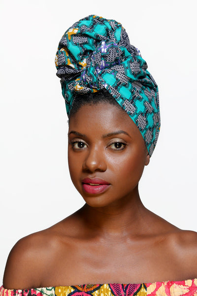 Sea and Sand African Print Head Wrap